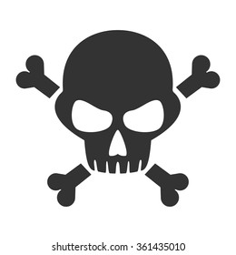 Scull and bones isolated icon, sign, illustration, silhouette, vector // Black & White