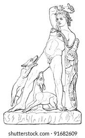 Sculpture of Actaeon - Vintage illustration from Meyers Konversations-Lexikon 1897