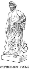 Sculpture of Asclepius - Vintage illustration from Meyers Konversations-Lexikon 1897