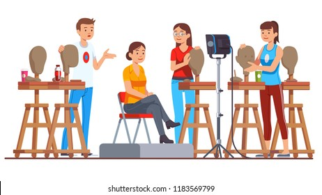 Sculpture class students modeling clay heads in art studio lesson with model woman sitting on chair & posing. Creativity hobby & handicraft work. Sculptor workplace interior. Flat vector illustration