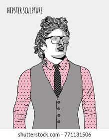 Sculpture of hipster Apollo dressed up with glasses. Hand drawn vector illustration.