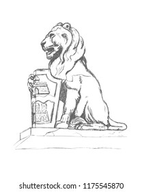 Sculpture of a lion with coat of arms. Budapest. Pencil drawing on paper, sketch. Vector