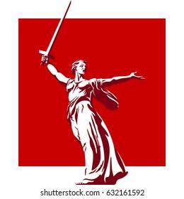 Sculpture Motherland calls. Symbol Volgograd. Russian Federation. Vector illustration
