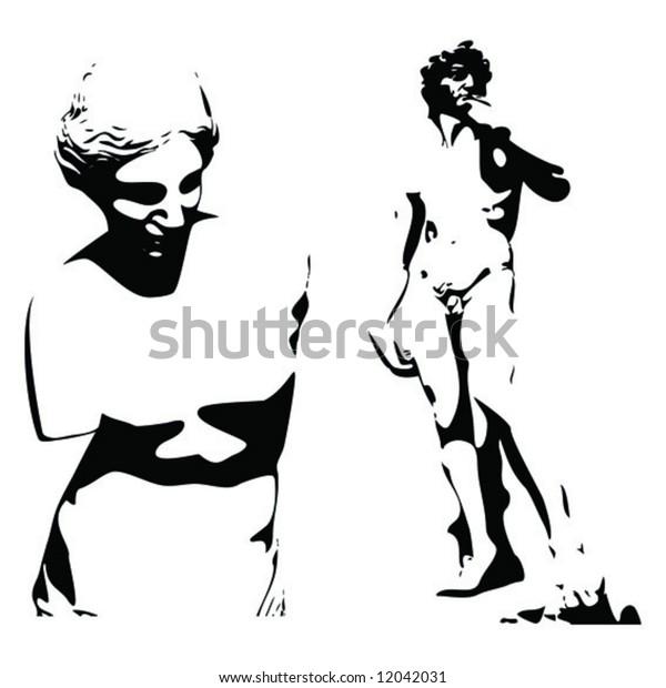 Sculptures of Venus and David