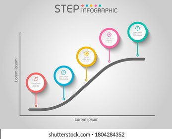 S-curve chart shape elements with steps,road map,options,graph,milestone,processes or workflow.Business data visualization.Creative step infographic template for presentation,vector illustration.