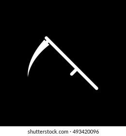Scythe Death Halloween Concept Flat Icon On Black Background