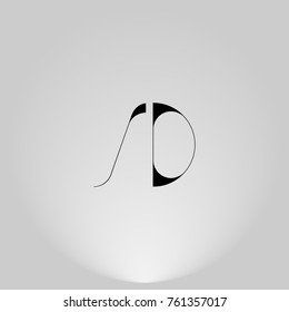 SD Black thin minimalist LOGO Design with Highlight on Gray background.