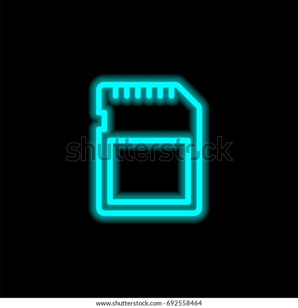 Sd card blue glowing neon ui ux icon. Glowing sign logo vector