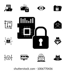SD Card Security icon. Set of cybersecurity icons. Signs, outline symbols collection, simple icons for websites, web design, mobile app, info graphics on white background