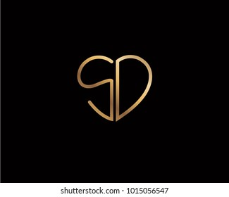 SD initial heart shape gold colored logo