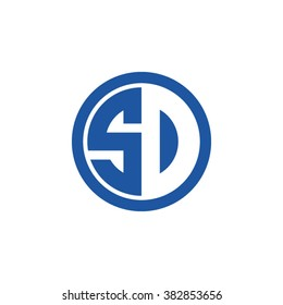 SD initial letters circle business logo blue