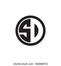 SD initial letters circle monogram logo