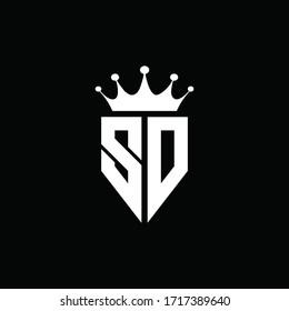 SD logo monogram emblem style with crown shape design template