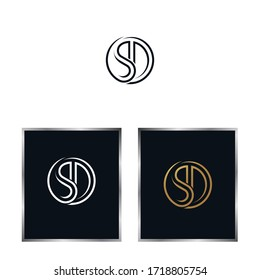 SD monogram and luxury.Typographic logo with outline letter s and letter d, eps 10