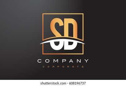 SD S D Golden Letter Logo Design with Swoosh and Rectangle Square Box Vector Design.