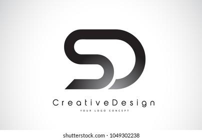 SD S D Letter Logo Design in Black Colors. Creative Modern Letters Vector Icon Logo Illustration.