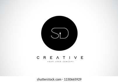 SD S D Logo Design with Black and White Creative Icon Text Letter Vector.