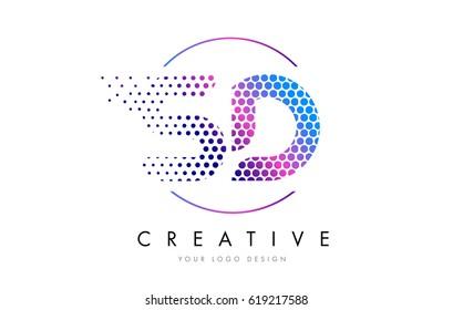 SD S D Pink Magenta Dotted Bubble Letter Logo Design. Dots Lettering Vector Illustration