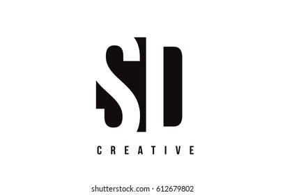SD S D White Letter Logo Design with Black Square Vector Illustration Template.