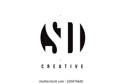 SD S D White Letter Logo Design with Circle Background Vector Illustration Template.