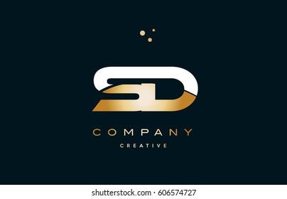 sd s d  white yellow gold golden metal metallic luxury alphabet company letter logo design vector icon template