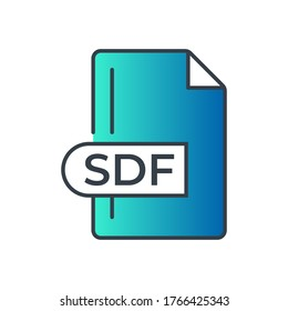 SDF File Format Icon. SDF extension gradiant icon.