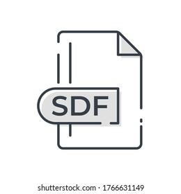 SDF File Format Icon. SDF extension line icon.