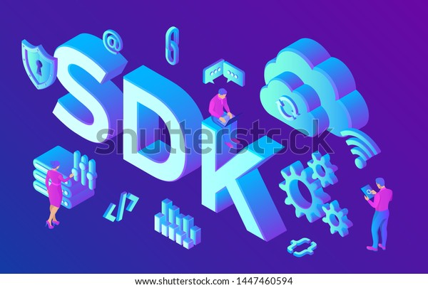 SDK. Software development kit programming language technology concept. Technology process of Software development. Isometric vector Illustration with icons and characters.