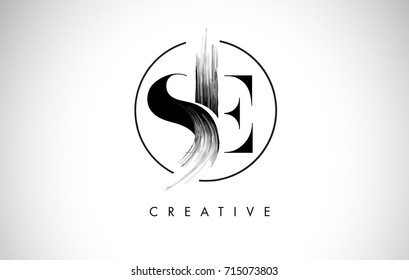 SE Brush Stroke Letter Logo Design. Black Paint Logo Leters Icon with Elegant Circle Vector Design.