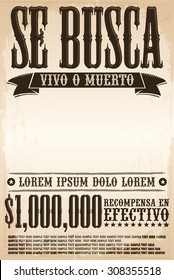 Se busca vivo o muerto, Wanted dead or alive poster spanish text template - One million reward - ready for your design