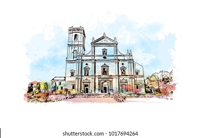 Se Cathedral in Old Goa , Goa India. Watercolor splash with hand drawn sketch illustration in vector.