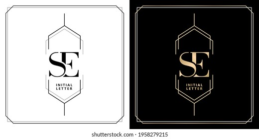 SE initial letter and graphic name, SE Monogram for Wedding couple logo, logo company and icon business, with three colors variation designs with isolated white backgrounds