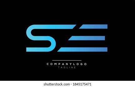 SE initials monogram letter text alphabet logo design