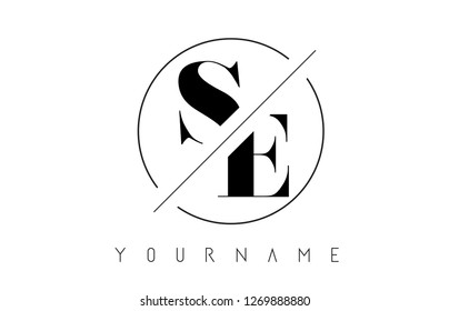SE Letter Logo with Cutted and Intersected Design and Round Frame Vector Illustration