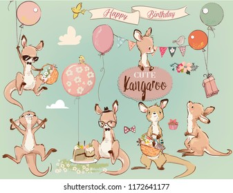 Se with Little kangaroo and balloons