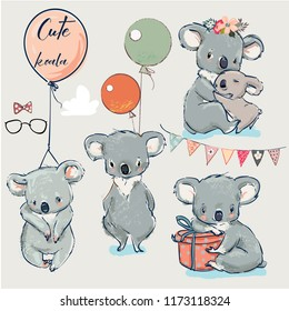 Se with Little koalas and balloons