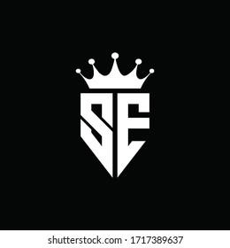 SE logo monogram emblem style with crown shape design template