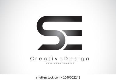 SE S E Letter Logo Design in Black Colors. Creative Modern Letters Vector Icon Logo Illustration.