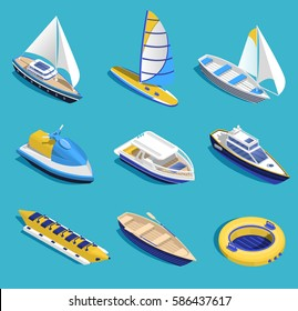 Sea activities isometric set on blue background isolated vector illustration