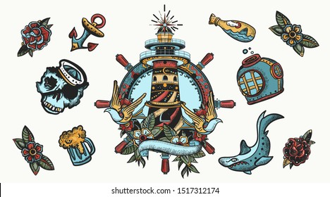 Sea adventure elements. Old school tattoo collection. Lighthouse, anchor, shark and steering wheel. Nautical elements. Traditional tattooing style