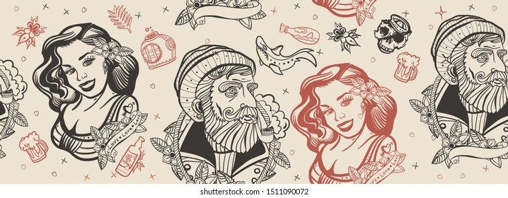 Sea adventure seamless pattern. Old school tattoo style. Sea wolf captain and sailor girl. Traditional tattooing  art