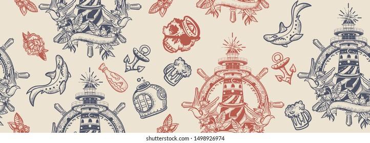 Sea adventure vintage seamless pattern. Old school tattoo. Lighthouse, anchor, shark and steering wheel. Marine art. Traditional tattooing style