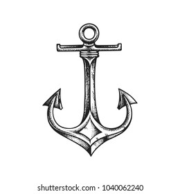 Sea anchor. Hand drawn vector illustration isolated on white background