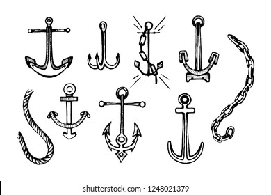 Sea anchor sketch graphic on white background. Hand drawn vector illustration. Anchors set in vintage style.