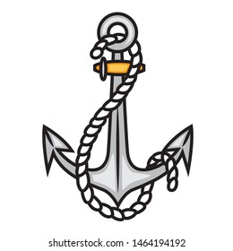 Sea anchor tattoo in traditional style. Old school retro symbol. Sailing anchor with rope. Black and white version. Vector flat illustration