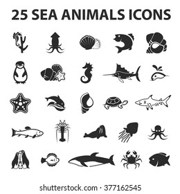 Sea Animal Icons Set.