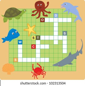 Sea Animal Puzzle Crossword Words Game For Children Vector Illustration