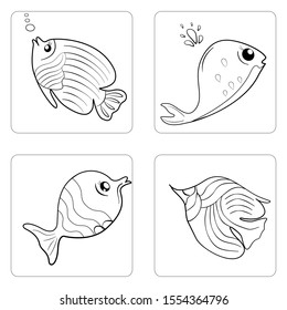 Sea Animal Vector Illustration, Fish Clipart, Black and White, Kawaii , Cute , Whales, Beautiful Fish, Pattern, Logo design