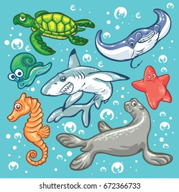 Sea Animal vector isolated on water background