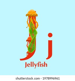 Sea animals alphabet. ABC for children. Letter J. Jellyfish. Kids training manual in a colourful cartoon style. Training tool for little kids. Learning to read in a funny way. Vector illustration